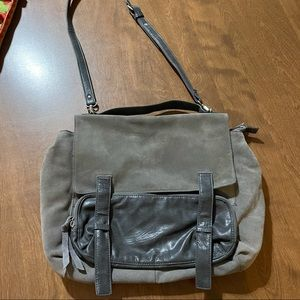 Gray suede & leather shoulder bag/satchel